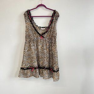 Cacique Leopard Print Baby Doll Intimate Top